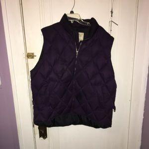 Plum quilt stitched  vest Eddie Bauer size 2XL